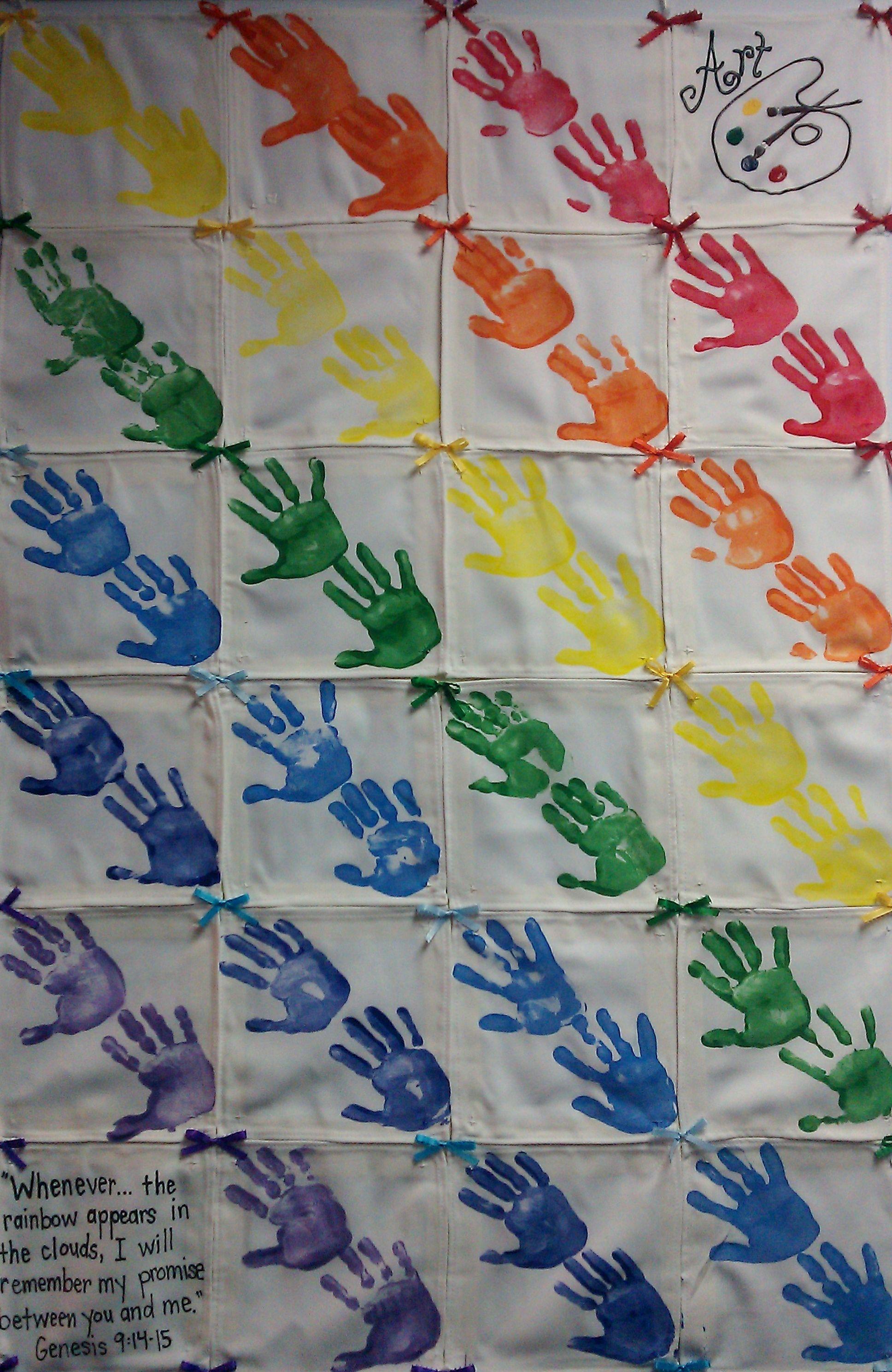 Art Color Themed Preschool Class Hand Print Quilt Whenever