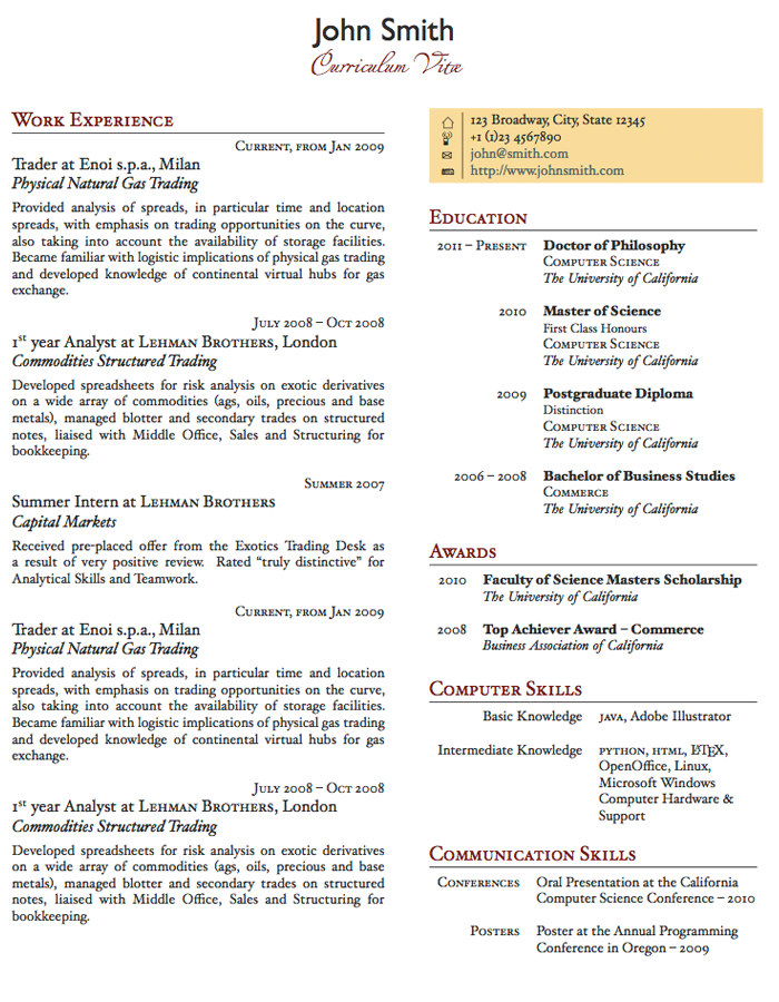 LaTeX Templates » Two Column OnePage CV