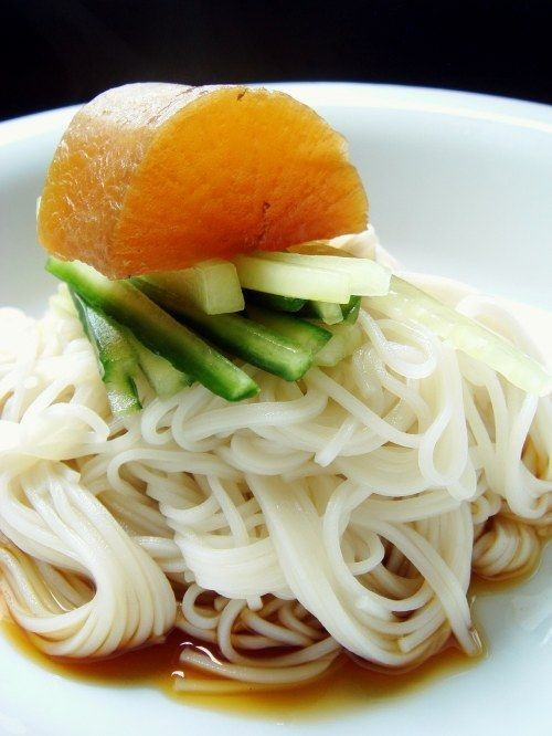 Cold noodles with julienned cucumber and soy braised daikon