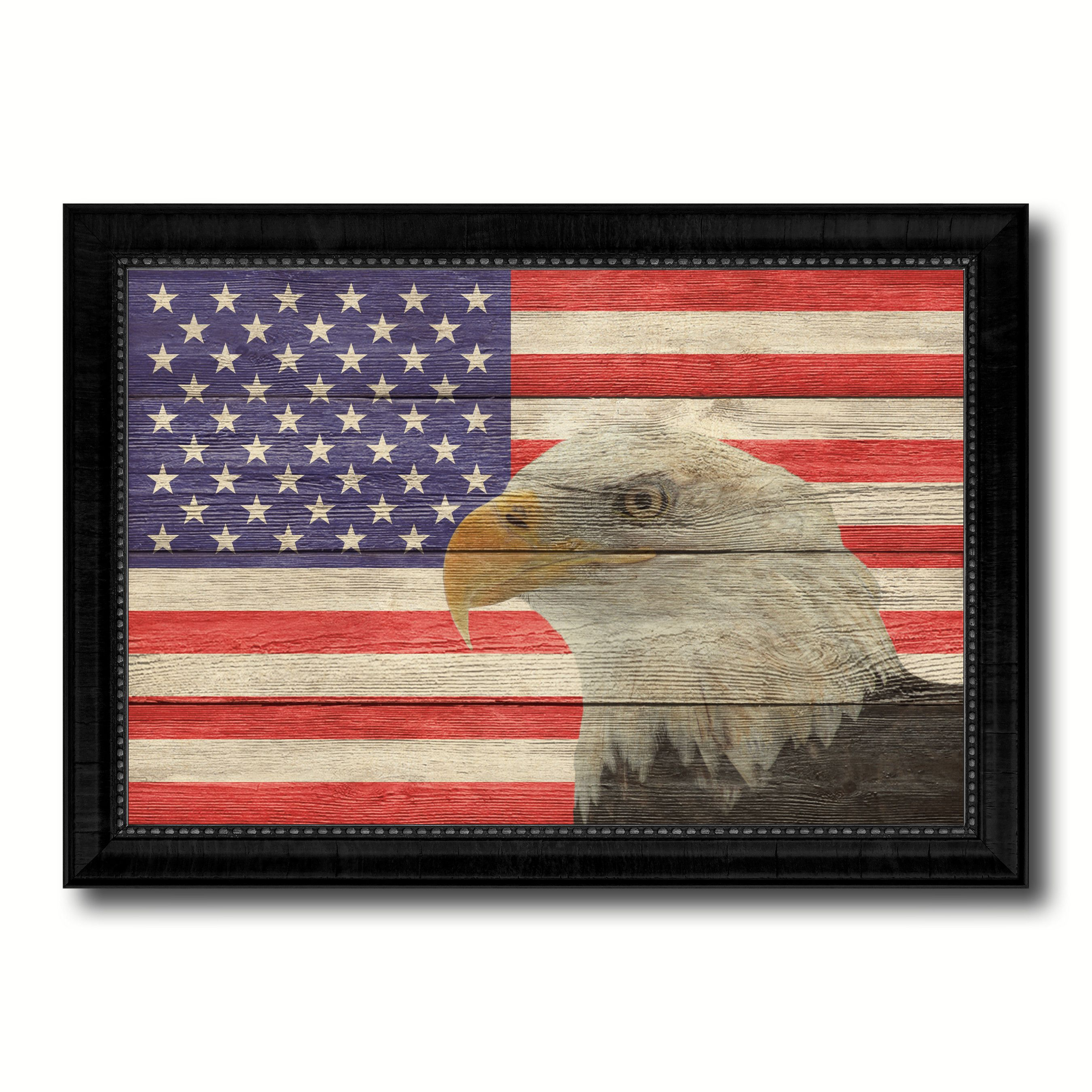American Eagle Flag Texture Canvas Print with Black