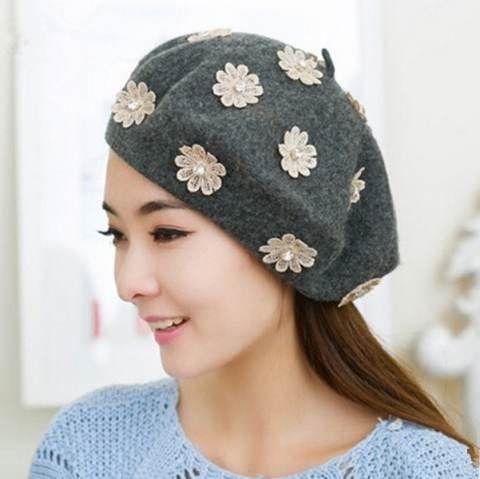 Lace flower French beret hat for women Rhinestone wool winter hats