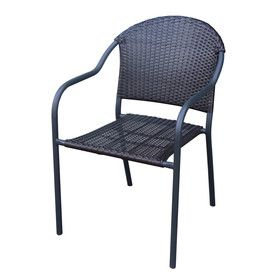 garden treasures pelham bay matte black woven seat steel stackable patio dining chair - Stackable Patio Chairs