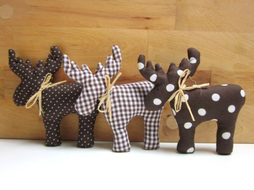 3-elk-made-of-fabric-in-Tilda-style-brown-white-dots… – # 3ElcheausStoffimTildaSt… – little things Christmas – Water