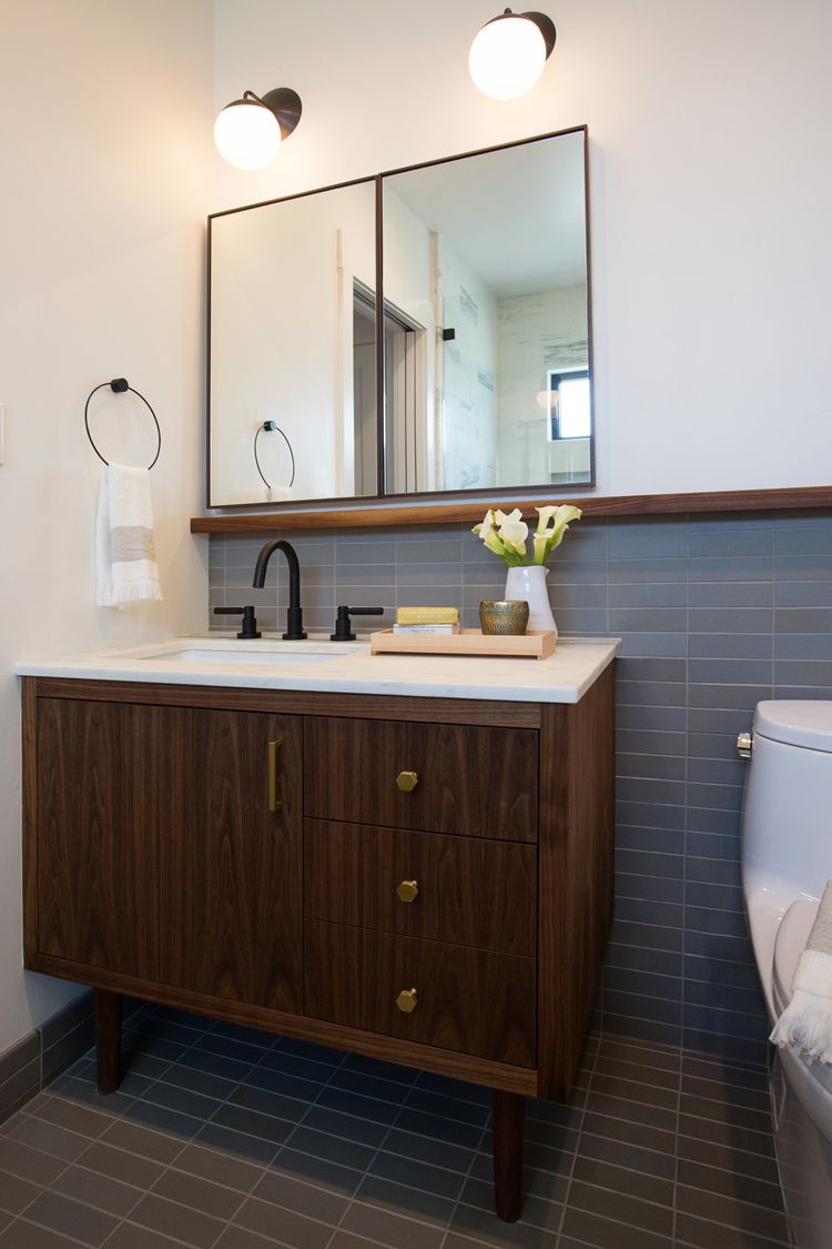 midcentury style vanity matching tile floor wainscot bathrooms in 2019 mid century. Black Bedroom Furniture Sets. Home Design Ideas