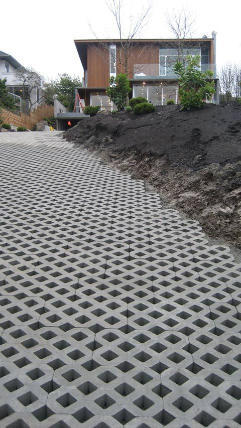 Turfstone installed on a sloped area great application for Sloped driveway options