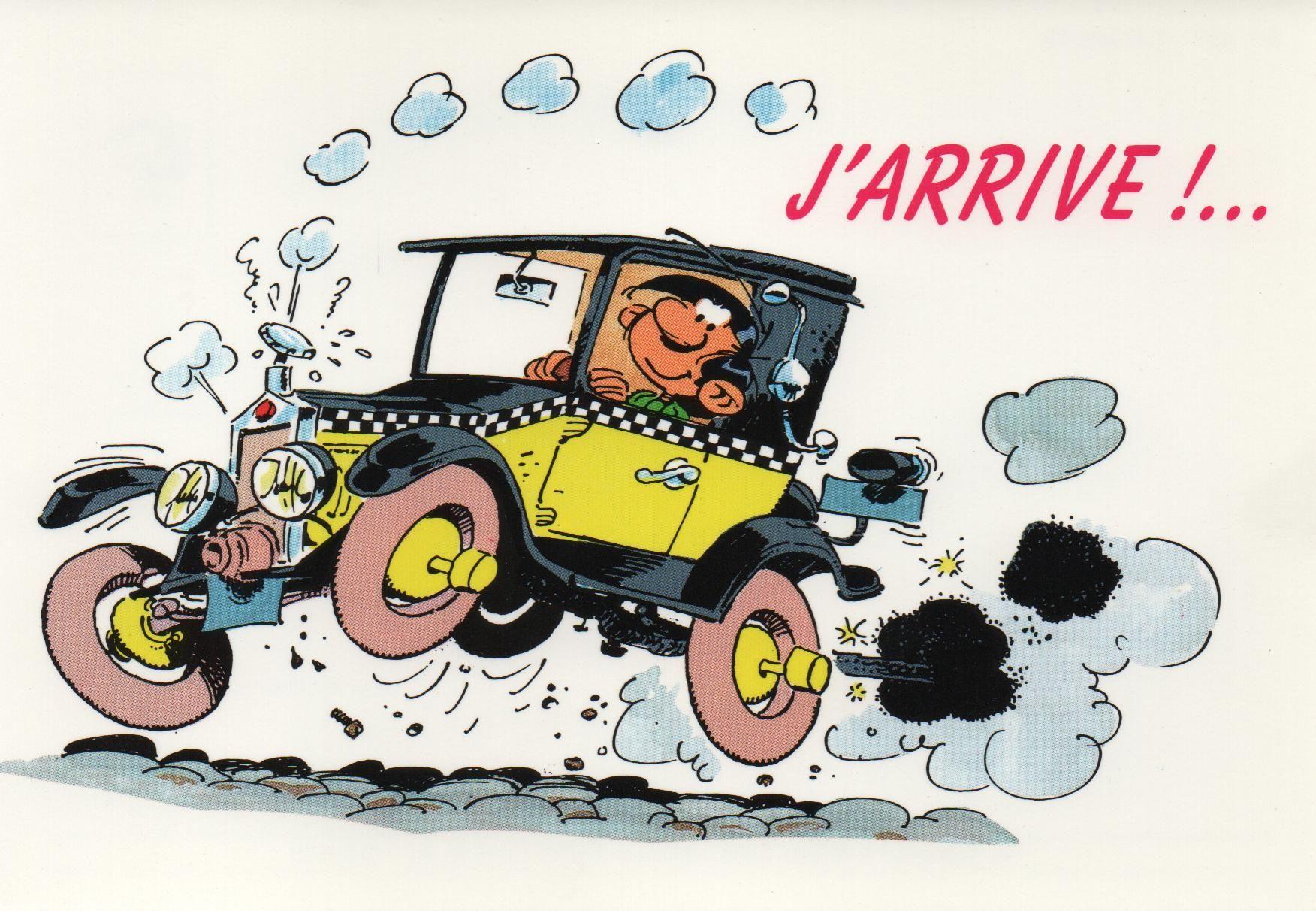 Guust flater postkaart j 39 arrive nr 407 lagaffe - Dessin humoristique voiture ...