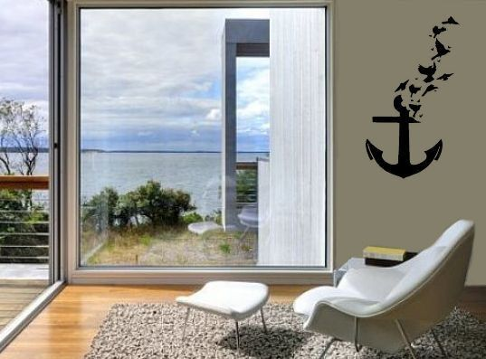 Boat anchor with birds decal ship anchor wall art custom - Lions head residence bates masi architects ...