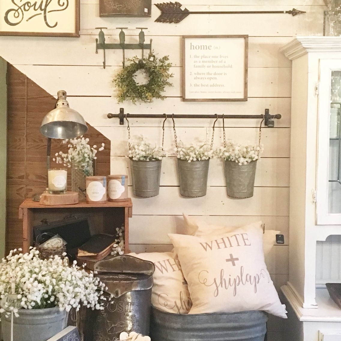 From Urban Farmgirl   Rockford, IL. Like The Hanging Buckets Used As  Planters . Rustic Farmhouse Decor ...