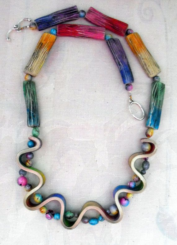 Crazy Waves Polymer Clay Necklace Handmade by MargitBoehmer