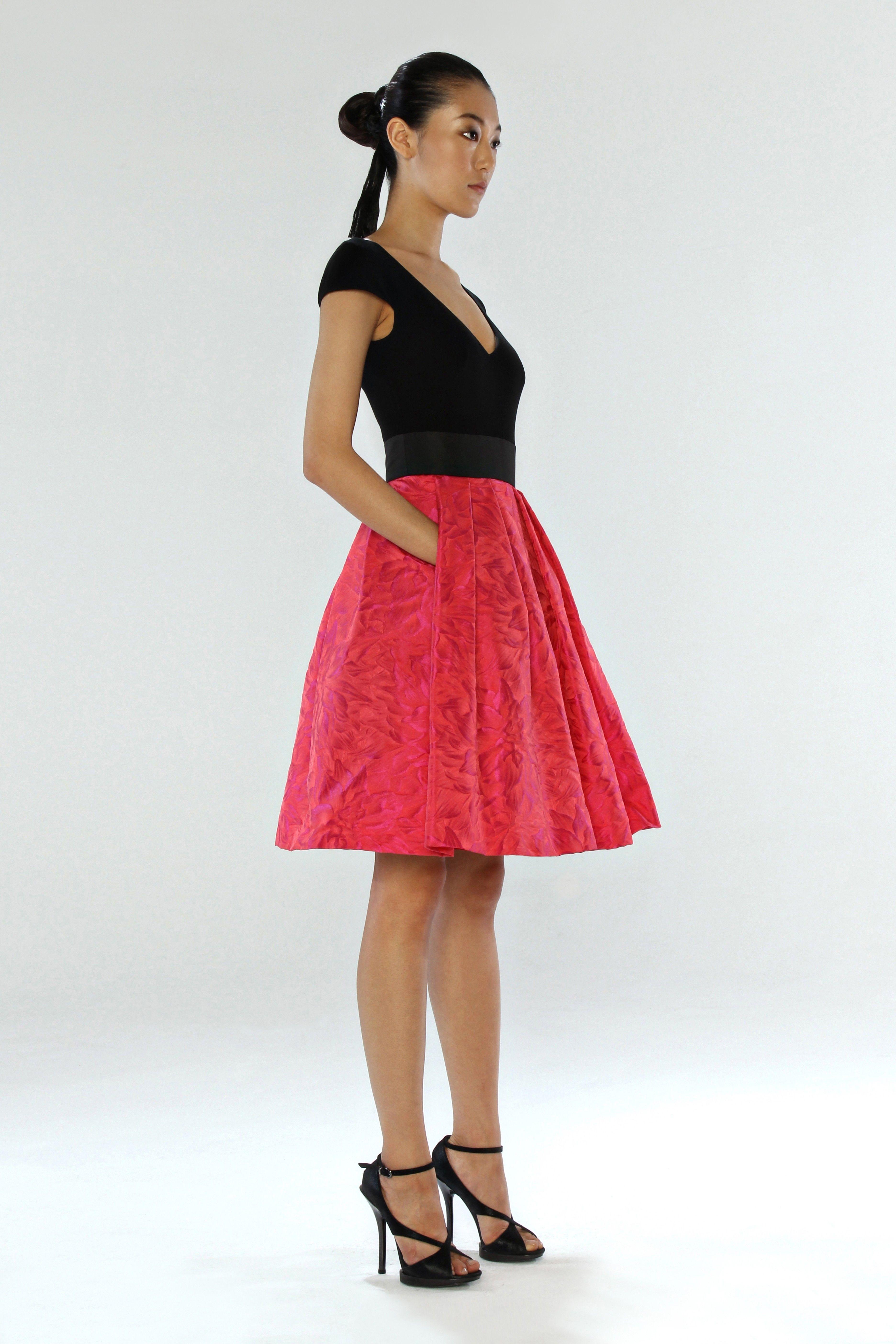 Theia Cocktail Dress with Crepe Top and Taffeta Skirt. Black ...