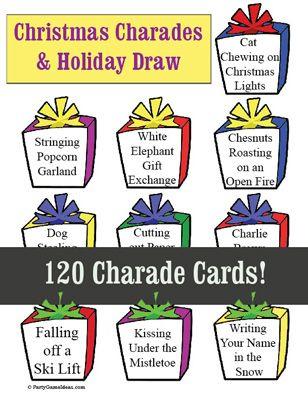 Christmas Charades And Holiday Draw Christmas Charades Christmas Charades Game Charades For Kids