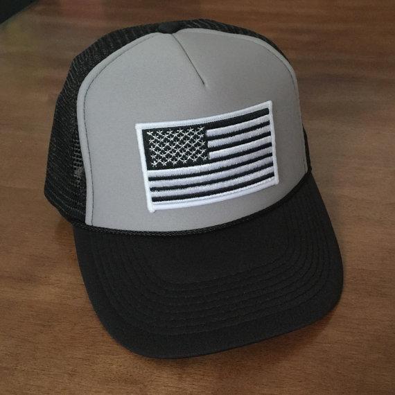 Black White American Flag Black Hat With Grey Foam Front Trucker Hat Snapback Flat Bill Trucker Hat Patri Black And White American Flag Patriotic Hats Hats