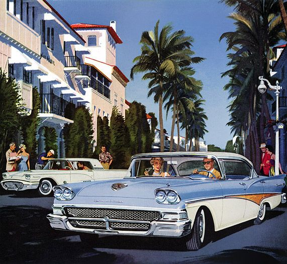 1958 Ford Fairlane 500 Town Victoria with a Thunderbird in the background.