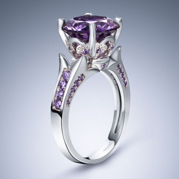 lilac flower brilliant cut amethyst rhodium plating sterling silver engagement ringfree shipping