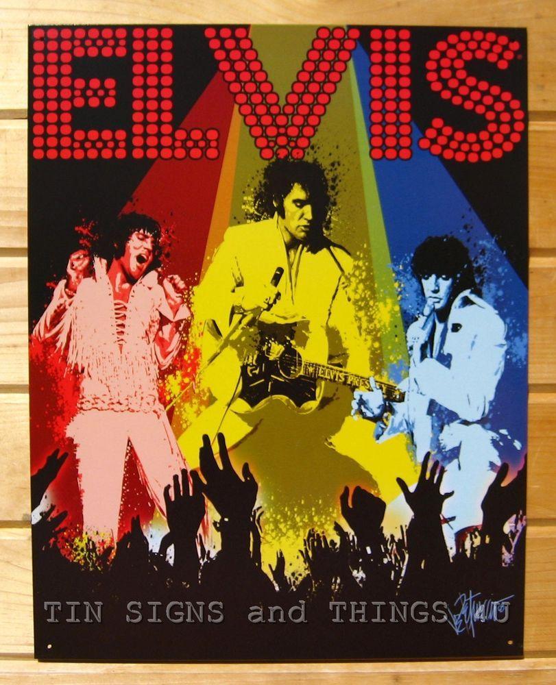 Elvis Presley Las Vegas Concert TIN SIGN vtg metal bar wall decor ...