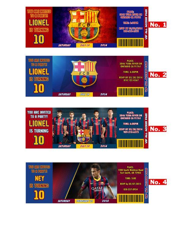 Fc Barcelona Team Messi Or Neymar Birthday Invitation Soccer Team