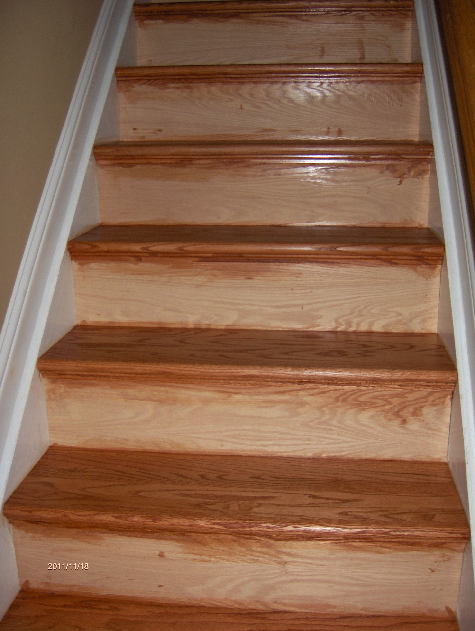 Best New Oak Stair Treads Installed Over Old Pine Treads We 400 x 300