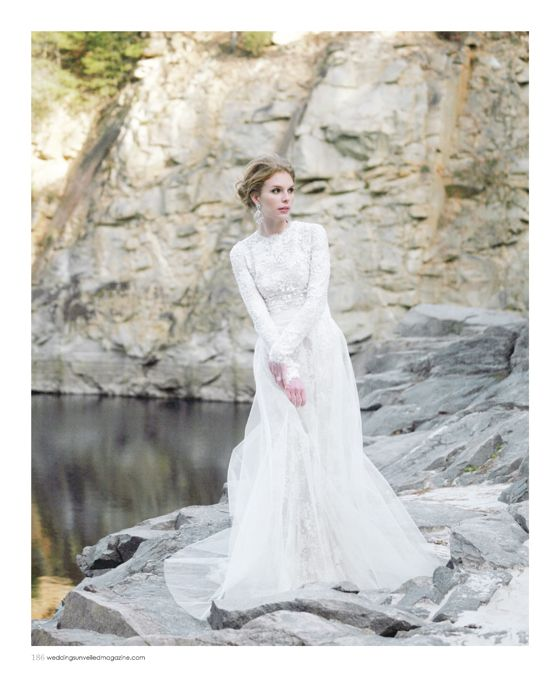 From the Winter 2013 issue of Weddings Unveiled Magazine. Dress by Monique Lhuillier, earrings from House of Lavande. www.weddingsunveiledmagazine.com