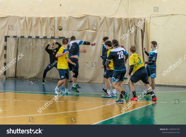 Odessa Ukraine April 3 2019 Regional Men S Handball Tournament Young Guys Play Handball On The Court In The Room Spo Odessa Odessa Ukraine Photo Editing