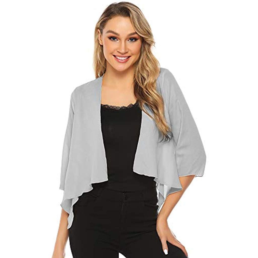 Fashion Secrets Women's Sheer Chiffon Bolero Shrug Jacket Cardigan 34 Sleeve (Large, Black)