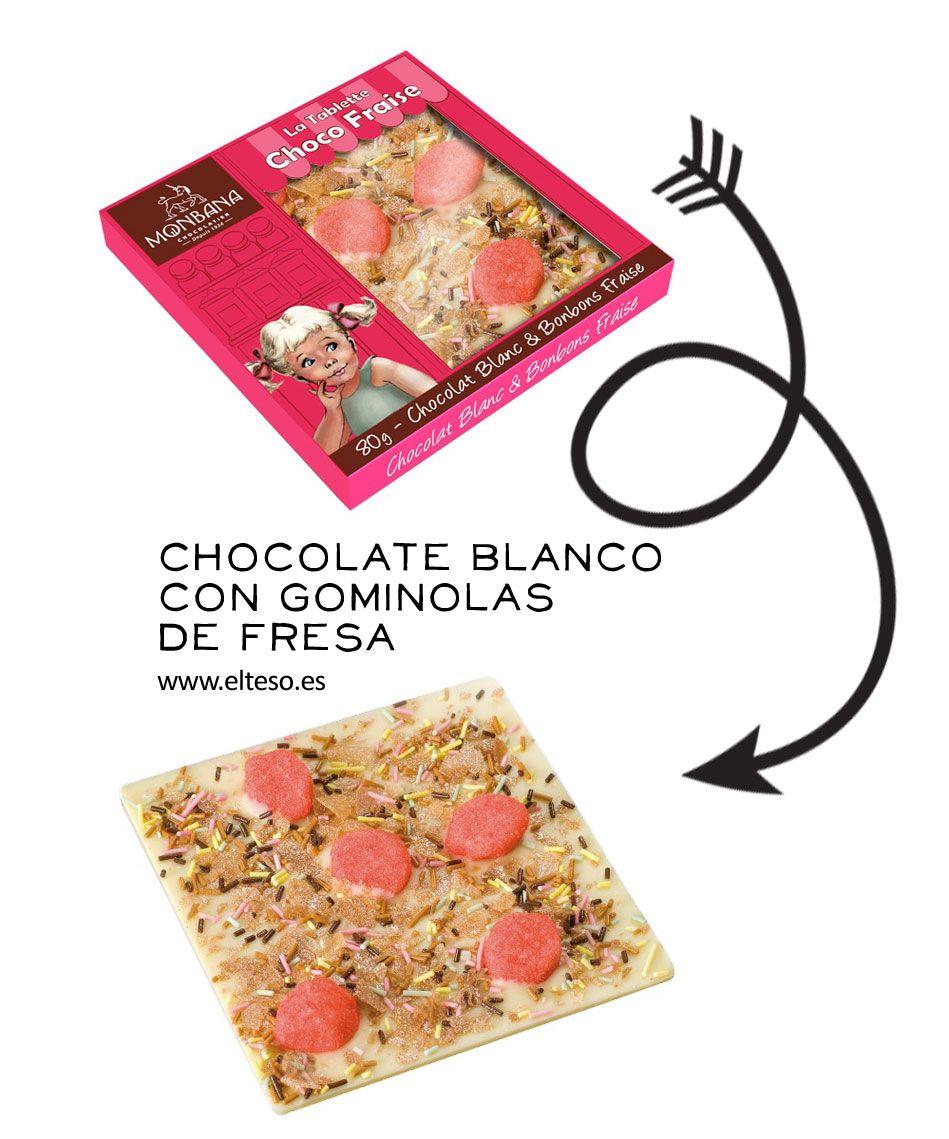 CHOCOLATE BLANCO CON GOMINOLAS DE FRESA #TiendaOnline #chocolates
