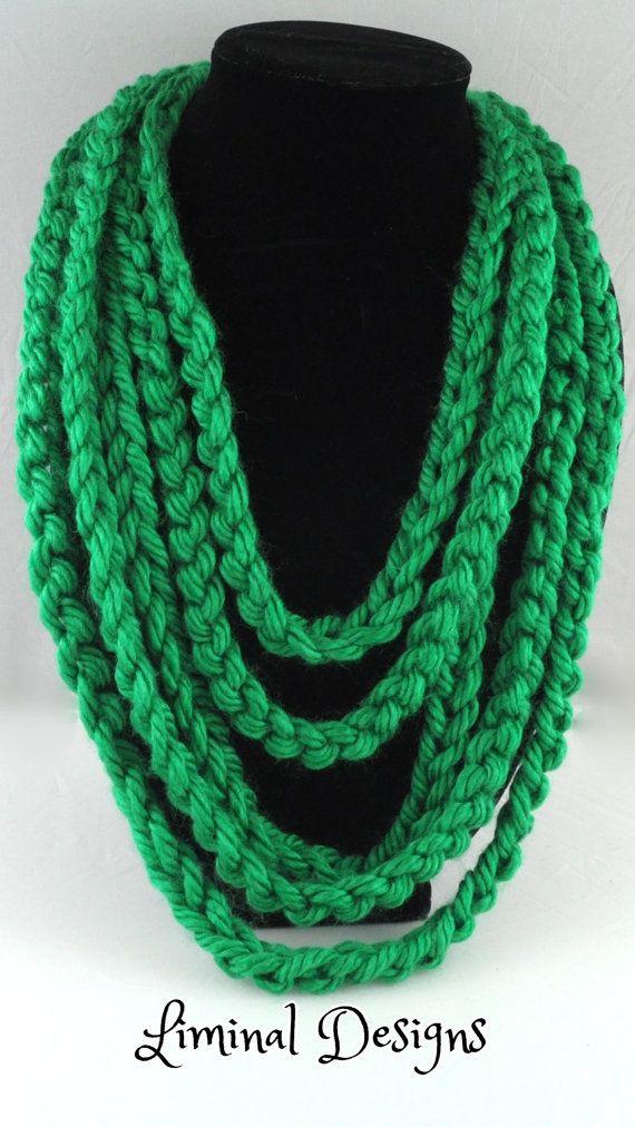 Yarn necklace, yarn scarf, crochet, apple green, handmade, mod en ...