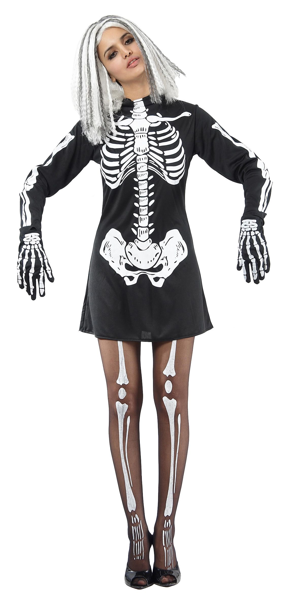DisfracesMimo disfraz de esqueleto para mujer varias tallas En