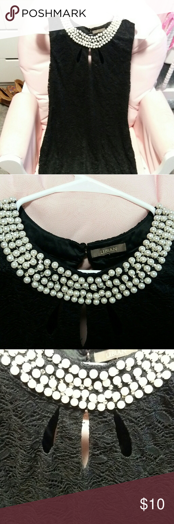 Black dress necklace 3 pearls