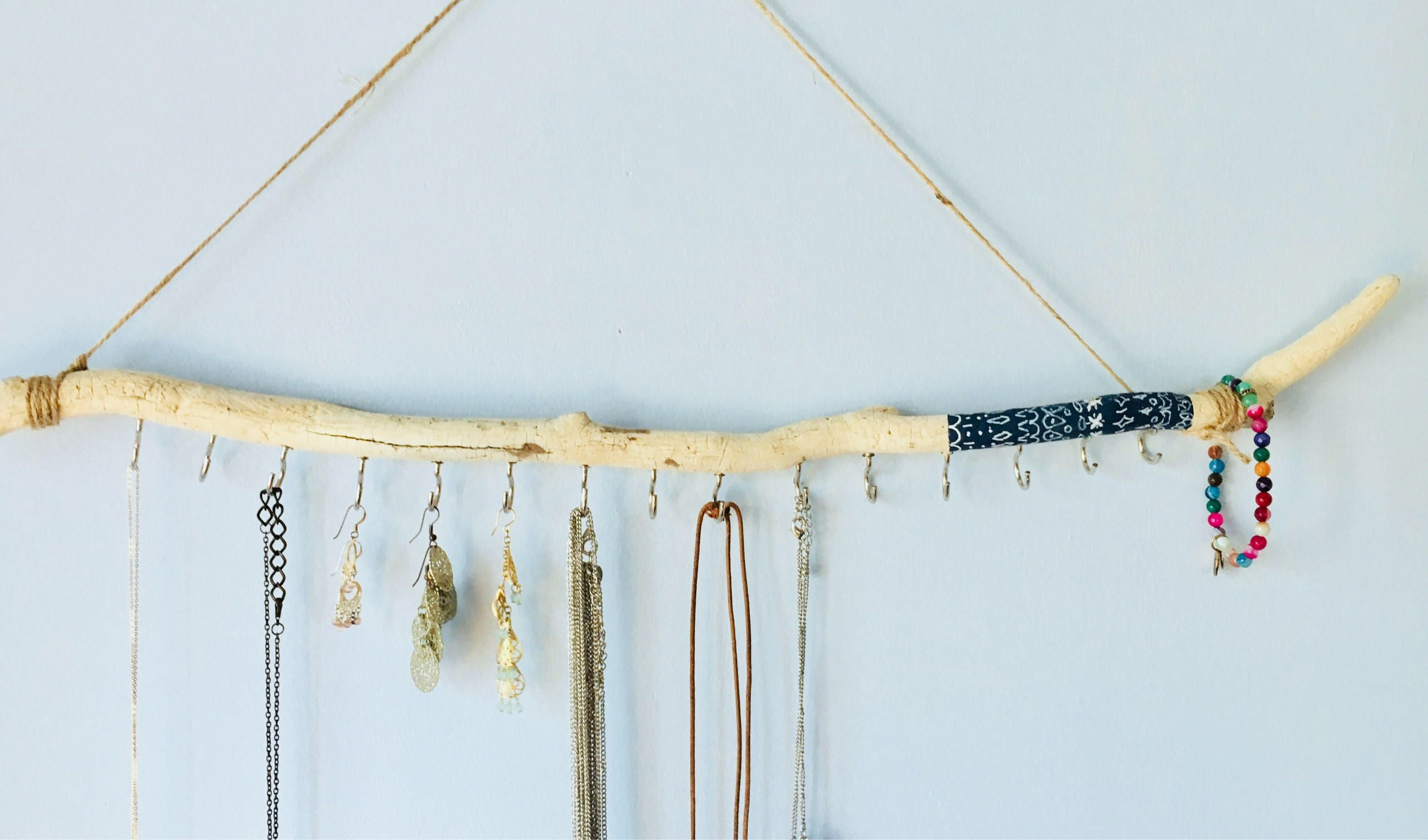 Driftwood jewelry organizer blue and white boho design hanging