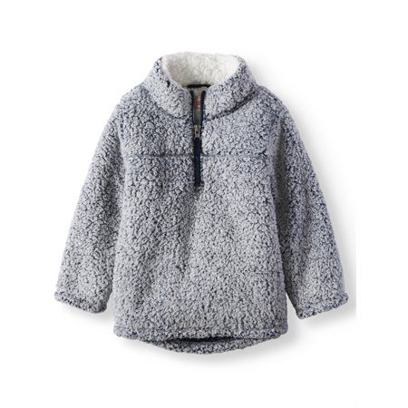 3T, Black Soot Wonder Nation Baby Boys Quarter Zip Super Soft Sherpa Pullover