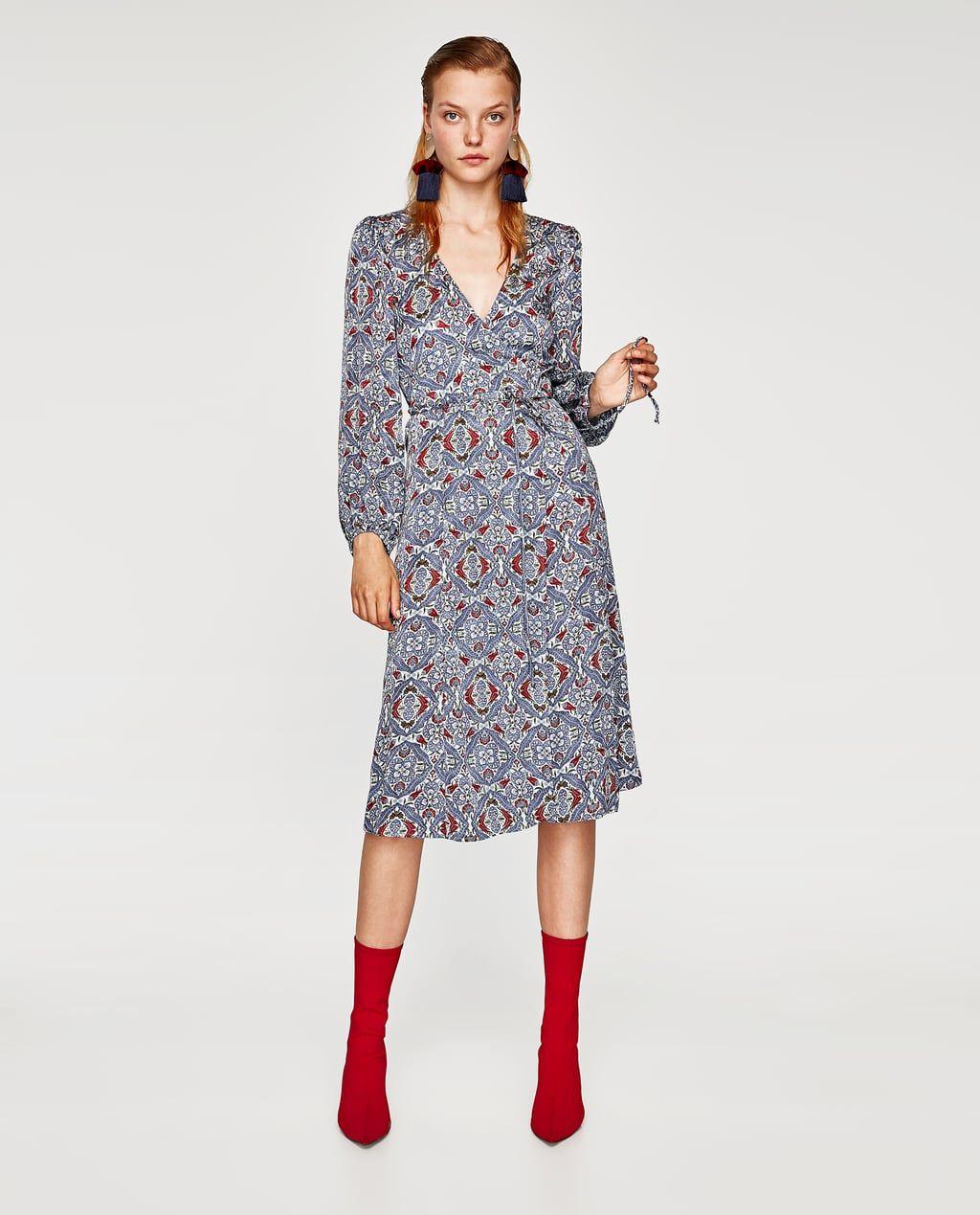 crossed midi dress-view all-dresses-woman-sale | zara united