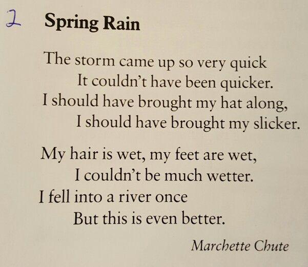 Spring Rain Marchette Chute Poetry For Kids Spring Rain