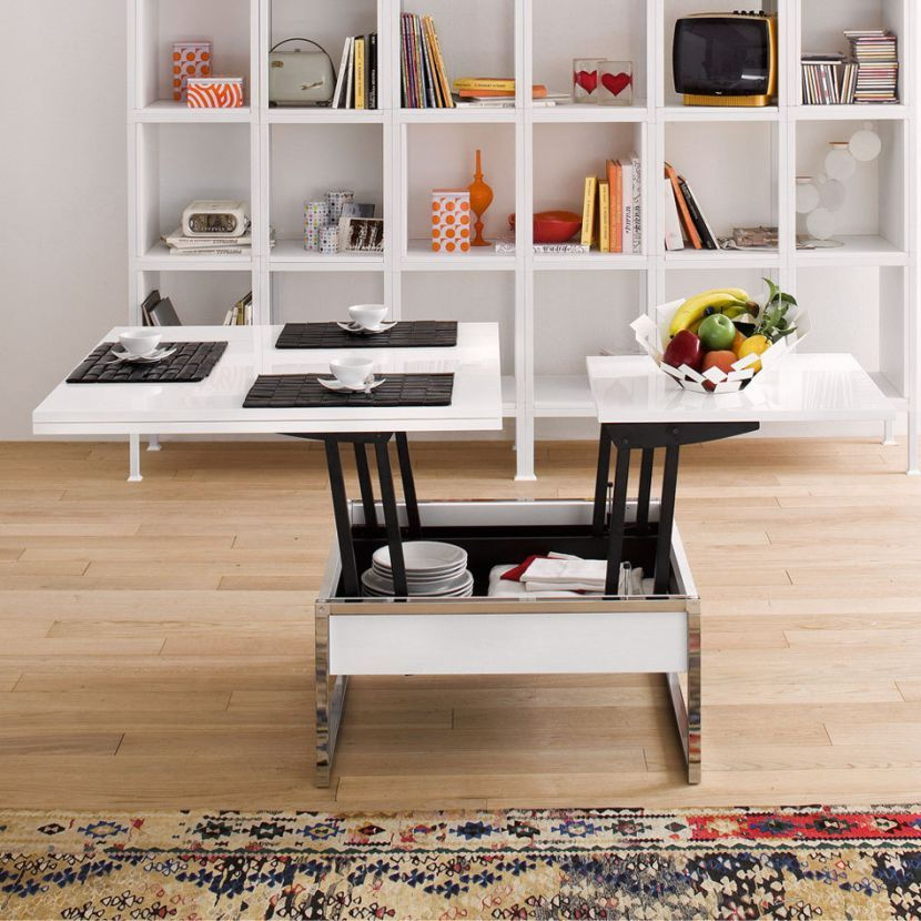 Modernika   Trendy Quadrato (half Open) Coffee Table Converts To Full Sized Dining  Table, Or Dinner Table Plus Small Serving Table