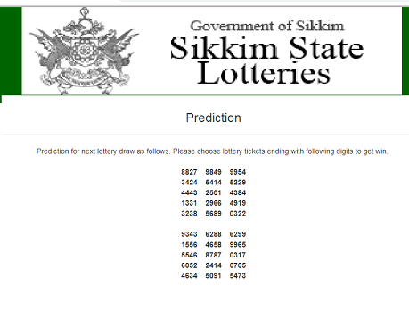 Sikkim State Lottery Number Predictions | Lottery numbers in 2019