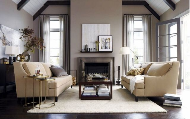 wohnzimmer-neutrale-farben-grau-beige-satteldach   Einrichten ...