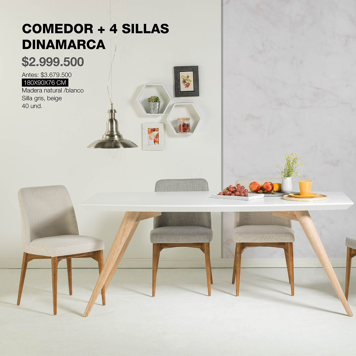 Comedor y sillas dinamarca dise ado en madera natural for Sillas comedor color gris