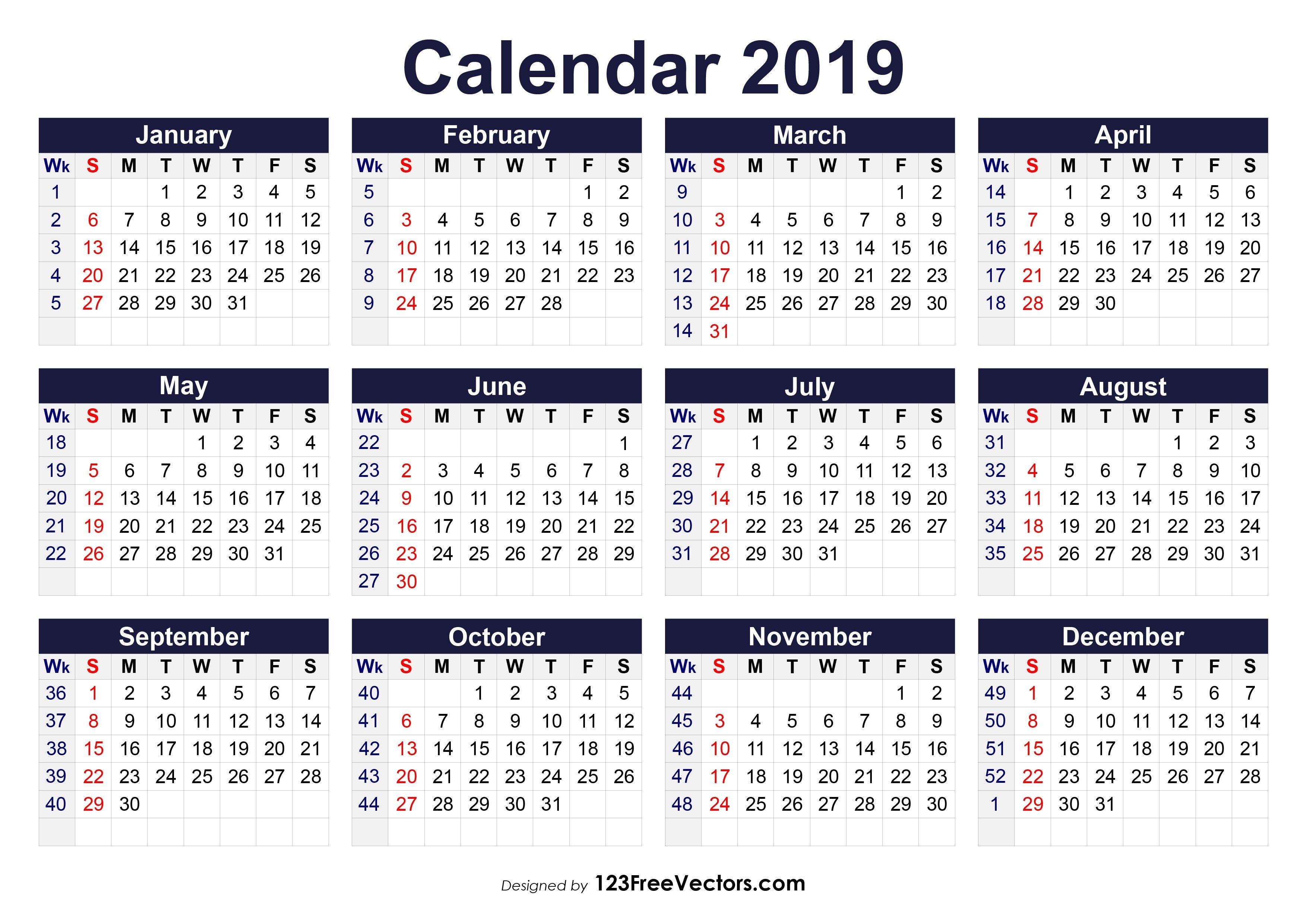 Printable Calendar With Week Numbers With Images Calendar With