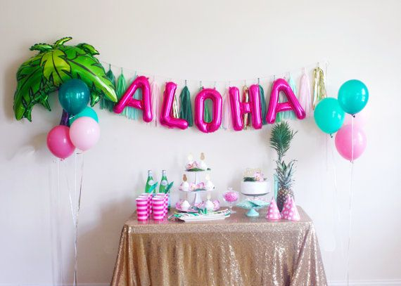 Aloha banner aloha letter balloons luau party for Balloon banner decoration