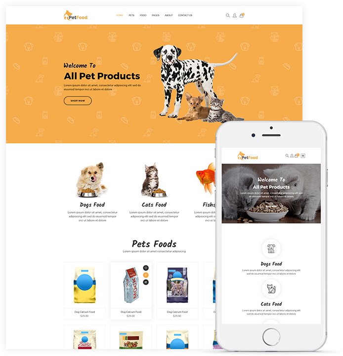 PetFood Pet Sitter, Pet Shop, Animal Care Shopify Theme