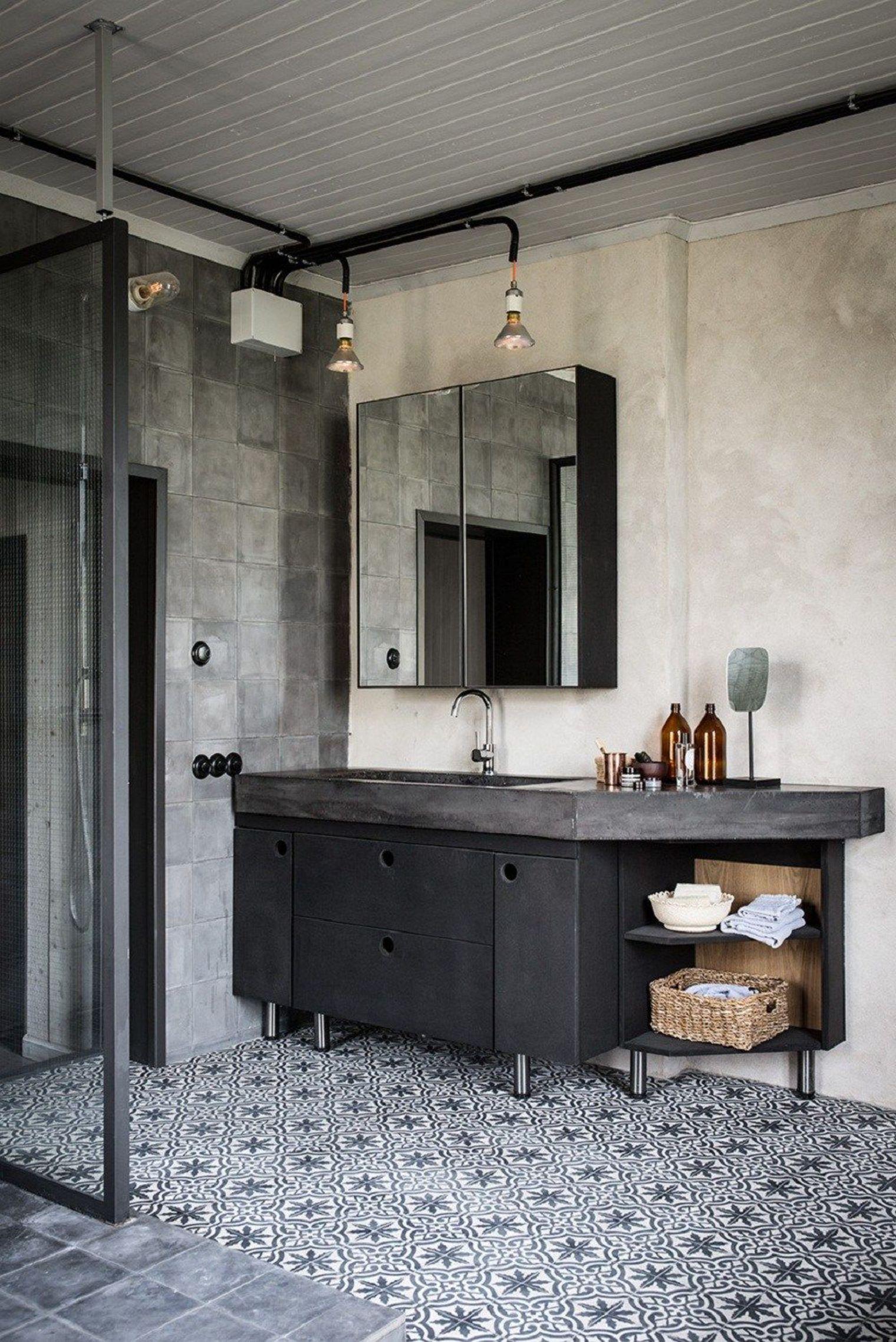 Salle De Bains Avec Carreaux De Ciment Côté Maison Salle De - Cote maison salle de bain