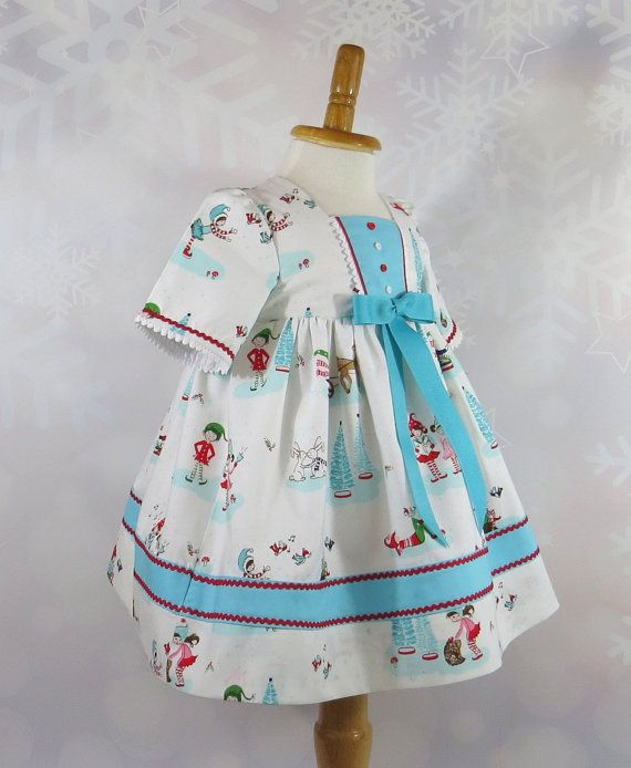 Aqua Christmas Tree Skirt: Pixie Print, Christmas Dress, Size 12 Months, Handmade