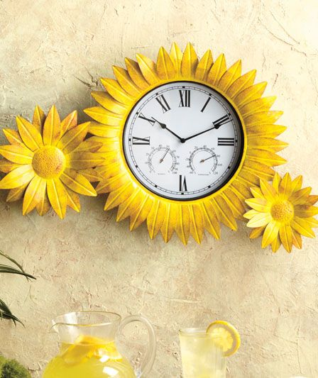 Absolutely love this Sunflower Clock. It has another function too - it's also a thermometer. #goodhousekeeping #happyroom