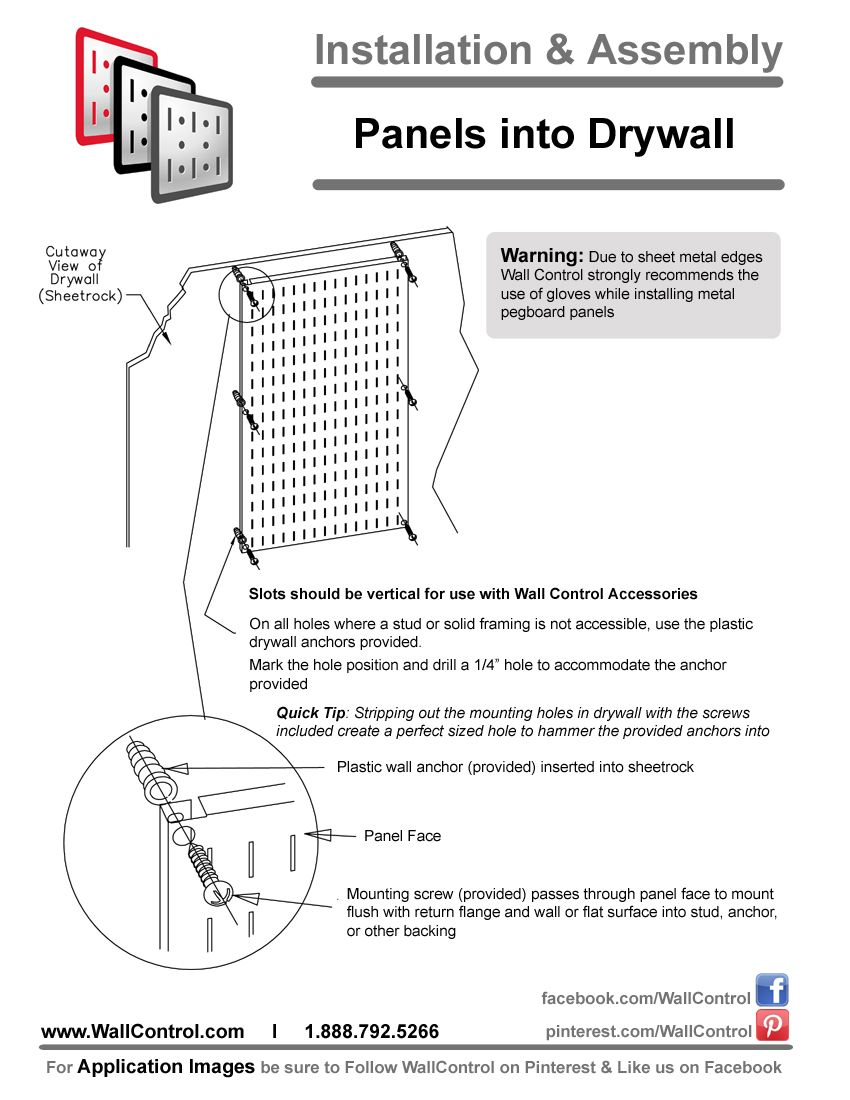 Instructions On How To Install Peg Boards And Tool Board Panels Into Dry Wall Or Sheetrock Easy Guide On Installing Wall How To Install Pegboard Tool Board Metal Pegboard