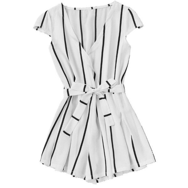 f4963f7ec6f Romwe Women s Casual Vertical Striped Jumpsuit Romper With Belt ( 15) ❤  liked on Polyvore featuring jumpsuits