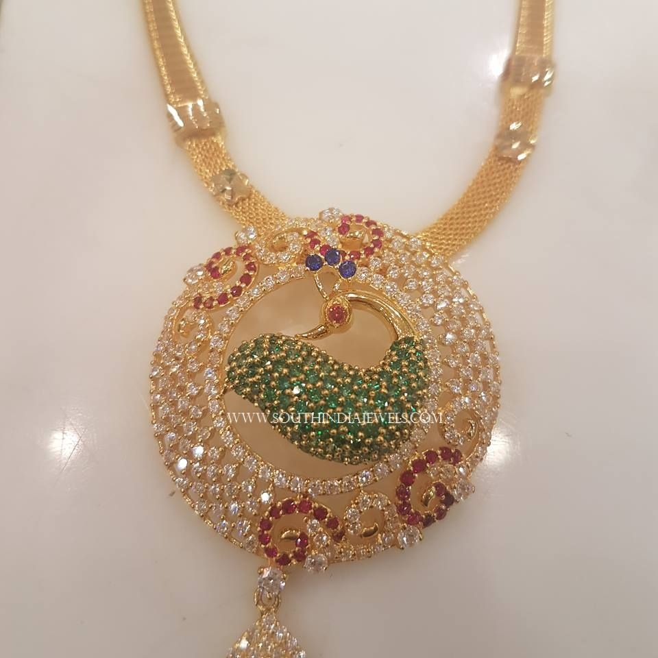 Short CZ Stone Gold Necklace Design | Necklace designs, Indian ...
