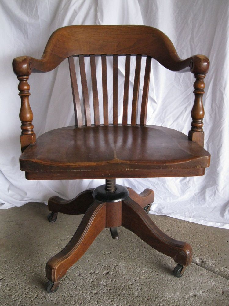 Antique vintage office courthouse bankers wooden swivel