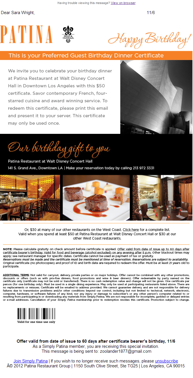 Lyris Customer Patina A Fine Cuisine Restaurant Chain Sends This Very Personalized Happy Birthday Email With Its Nearest Location