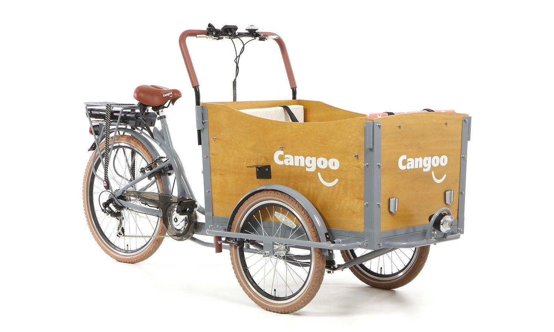 bakfiets cangoo travel e electrique gris triporteur. Black Bedroom Furniture Sets. Home Design Ideas