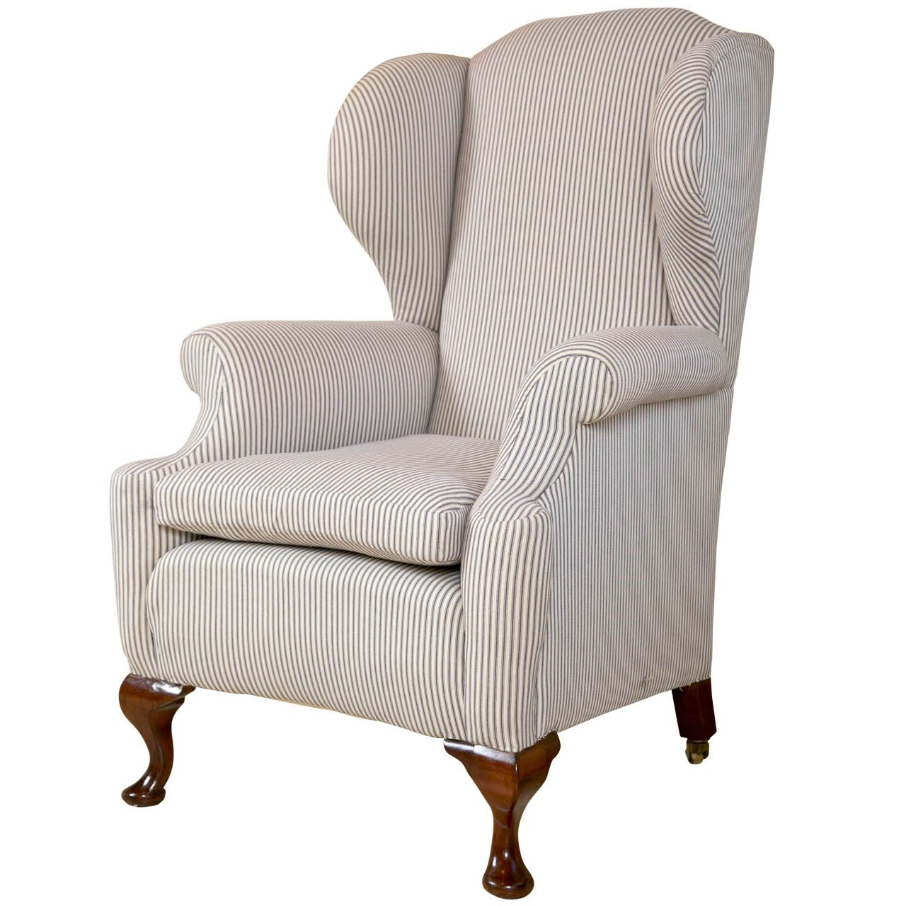 English Wing Back In Ticking Stripe Vintage Wingback Chair Wingback Chair Furniture