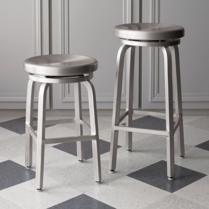 This Industrial Contemporary Brushed Aluminum Bar Stool Has A Bar Appropriate Height And Offers The Classi In 2020 Modern Kitchen Stools Bar Stools Bar Stool Cushions